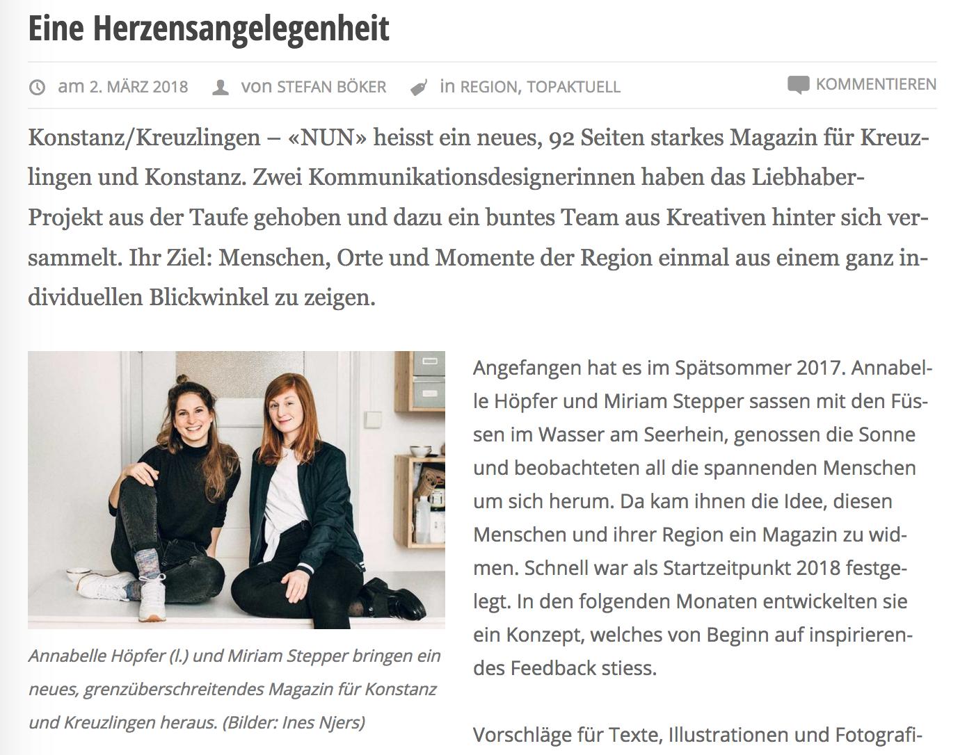 Kreuzlinger Zeitung Artikel